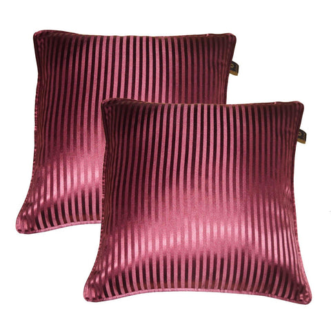 "Lushomes burgundy contemporary stripped cushion cover with plain piping, 16 x 16""(Pack of 2) Torantina Collection - Lushomes"