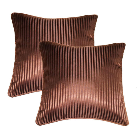 "Lushomes chocolate contemporary stripped cushion cover with plain piping, 16 x 16""(Pack of 2) Torantina Collection - Lushomes"