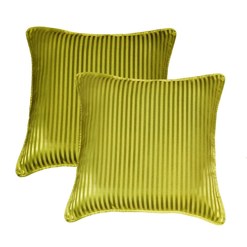 "Lushomes green contemporary stripped cushion cover with plain piping, 16 x 16""(Pack of 2) Torantina Collection - Lushomes"