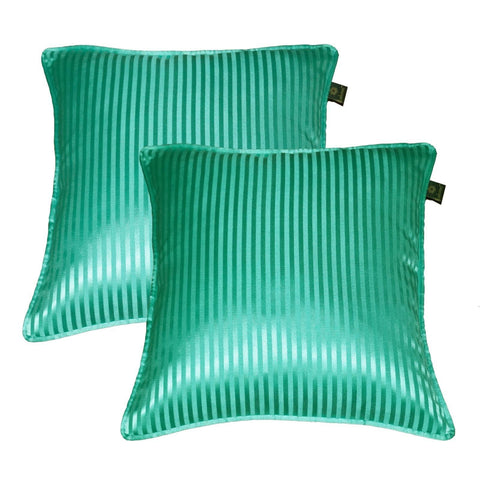 "Lushomes sea green contemporary stripped cushion cover with plain piping, 16 x 16""(Pack of 2) Torantina Collection - Lushomes"