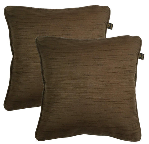 "Lushomes Matka Silk Pack of 2 Brown Cushion Covers (12""x12"") - Lushomes"