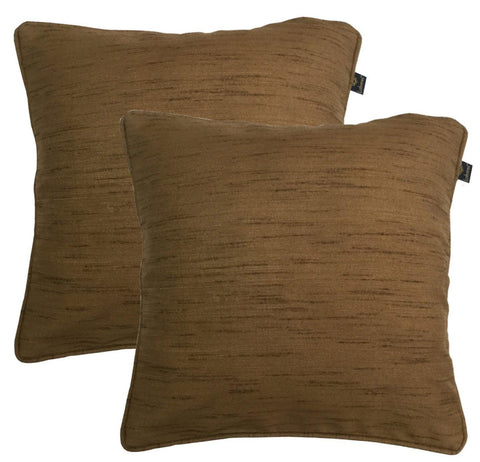 "Lushomes Matka Silk Pack of 2 Brown Cushion Covers (24""x24"") - Lushomes"