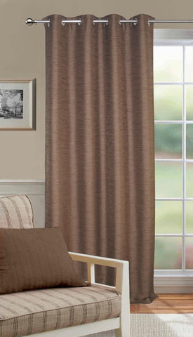 Lushomes Matka Silk Brown Curtain for Door (Single pc) - Lushomes