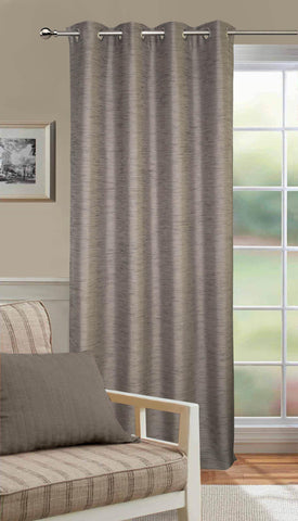 Lushomes Matka Silk Grey Curtain for Door (Single pc) - Lushomes
