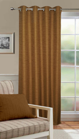 Lushomes Matka Silk Brown Curtain for Long Door (Single pc) - Lushomes