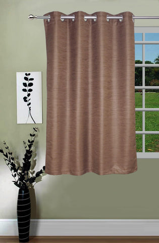 Lushomes Matka Silk Brown Curtain for Window (Single pc) - Lushomes