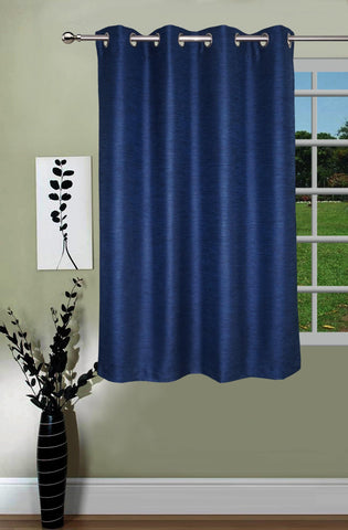 Lushomes Matka Silk Blue Curtain for Window (Single pc) - Lushomes