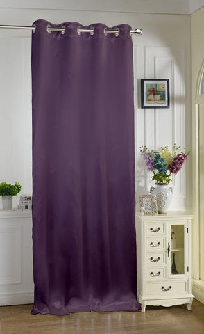 "Lushomes Purple Contemporary Premium Plain Door Curtain with 8 metal Eyelets (54 x 90"")-Torantina, Single pc - Lushomes"