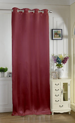 "Lushomes Burgundy Contemporary Premium Plain Door Curtain with 8 metal Eyelets (54 x 90"")-Torantina, Single pc - Lushomes"