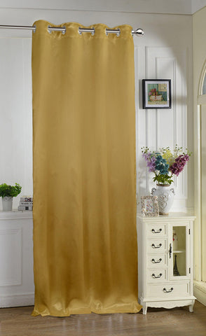 "Lushomes Gold Contemporary Premium Plain Door Curtain with 8 metal Eyelets (54 x 90"")-Torantina, Single pc - Lushomes"