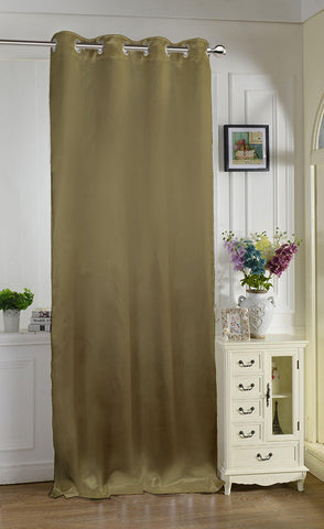 "Lushomes Brown Contemporary Premium Plain Long Door Curtain with 8 metal Eyelets (54 x 108"")-Torantina, Single pc - Lushomes"