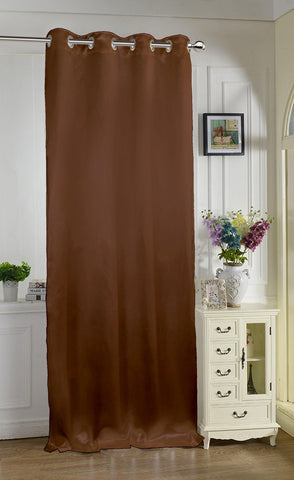 "Lushomes Chocolate Contemporary Premium Plain Long Door Curtain with 8 metal Eyelets (54 x 108"")-Torantina, Single pc - Lushomes"