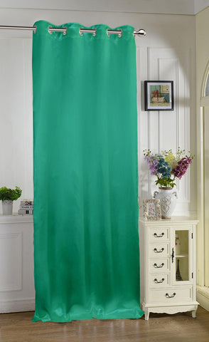 "Lushomes Sea Green Contemporary Premium Plain Long Door Curtain with 8 metal Eyelets (54 x 108"")-Torantina, Single pc - Lushomes"