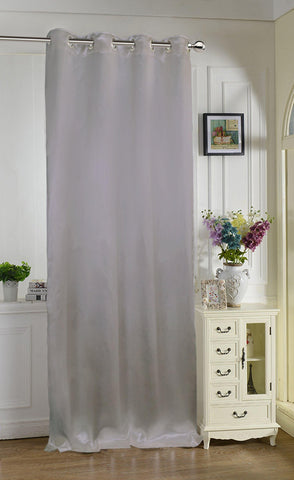 "Lushomes Grey Contemporary Premium Plain Long Door Curtain with 8 metal Eyelets (54 x 108"")-Torantina, Single pc - Lushomes"