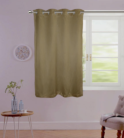 "Lushomes Brown Contemporary Premium Plain Window Curtain with 8 metal Eyelets (54 x 60"")-Torantina, Single pc - Lushomes"