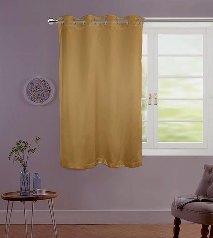 "Lushomes Gold Contemporary Premium Plain Window Curtain with 8 metal Eyelets (54 x 60"")-Torantina, Single pc - Lushomes"