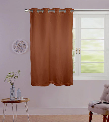 "Lushomes Chocolate Contemporary Premium Plain Window Curtain with 8 metal Eyelets (54 x 60"")-Torantina, Single pc - Lushomes"