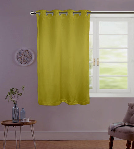 "Lushomes Green Contemporary Premium Plain Window Curtain with 8 metal Eyelets (54 x 60"")-Torantina, Single pc - Lushomes"