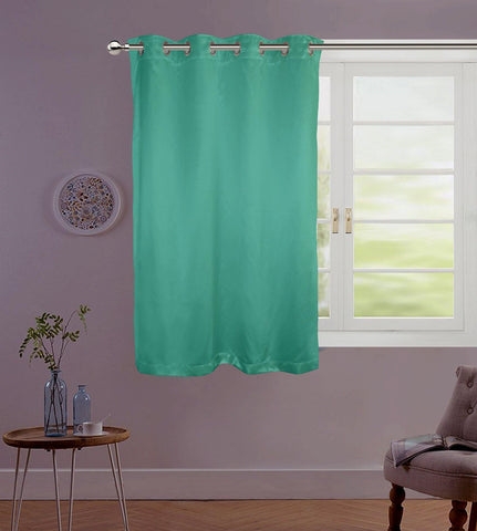 "Lushomes Sea Green Contemporary Premium Plain Window Curtain with 8 metal Eyelets (54 x 60"")-Torantina, Single pc - Lushomes"