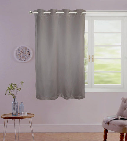 "Lushomes Grey Contemporary Premium Plain Window Curtain with 8 metal Eyelets (54 x 60"")-Torantina, Single pc - Lushomes"