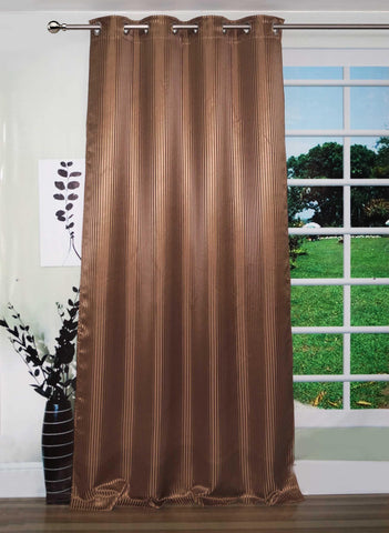 "Lushomes Brown Contemporary Stripped Door Curtain with 8 metal Eyelets (54 x 90"")-Torantina - Lushomes"