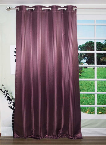 "Lushomes Purple Contemporary Stripped Door Curtain with 8 metal Eyelets (54 x 90"")-Torantina - Lushomes"