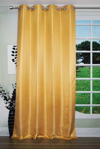 "Lushomes Gold Contemporary Stripped Door Curtain with 8 metal Eyelets (54 x 90"")-Torantina - Lushomes"
