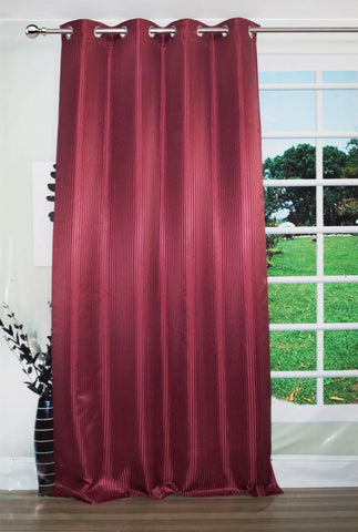 "Lushomes Burgundy Contemporary Stripped Long Door Curtain with 8 metal Eyelets (54 x 108"")-Torantina - Lushomes"