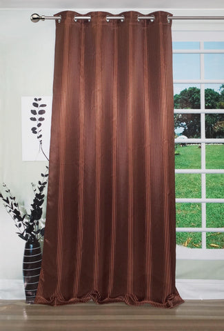"Lushomes Chocolate Contemporary Stripped Long Door Curtain with 8 metal Eyelets (54 x 108"")-Torantina - Lushomes"