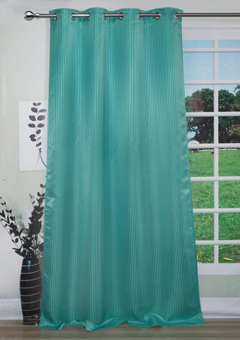 "Lushomes Sea Green Contemporary Stripped Long Door Curtain with 8 metal Eyelets (54 x 108"")-Torantina - Lushomes"