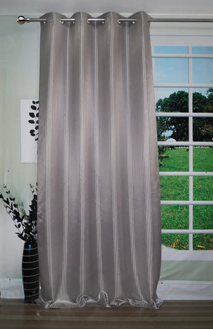 "Lushomes Grey Contemporary Stripped Long Door Curtain with 8 metal Eyelets (54 x 108"")-Torantina - Lushomes"