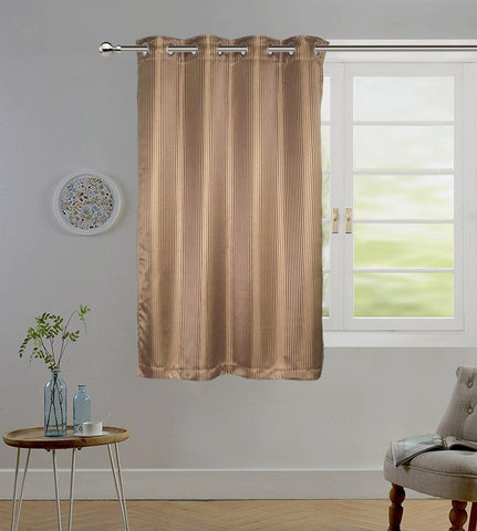 "Lushomes Brown Contemporary Stripped Window Curtain with 8 metal Eyelets (54 x 60"")-Torantina - Lushomes"