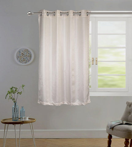 "Lushomes Cream Contemporary Stripped Window Curtain with 8 metal Eyelets (54 x 60"")-Torantina - Lushomes"