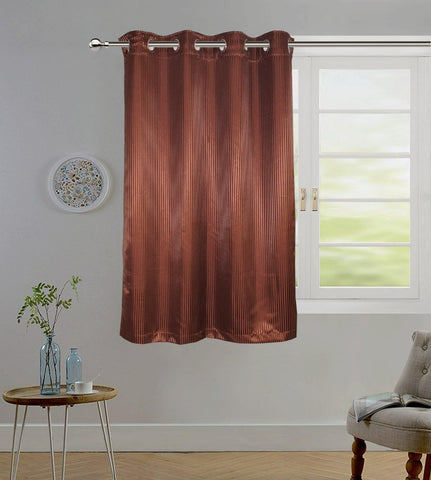 "Lushomes Chocolate Contemporary Stripped Window Curtain with 8 metal Eyelets (54 x 60"")-Torantina - Lushomes"