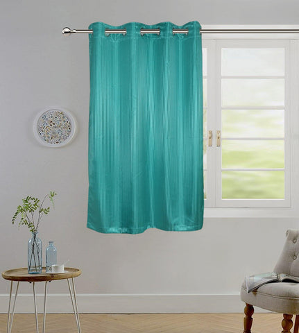 "Lushomes Sea Green Contemporary Stripped Window Curtain with 8 metal Eyelets (54 x 60"")-Torantina - Lushomes"