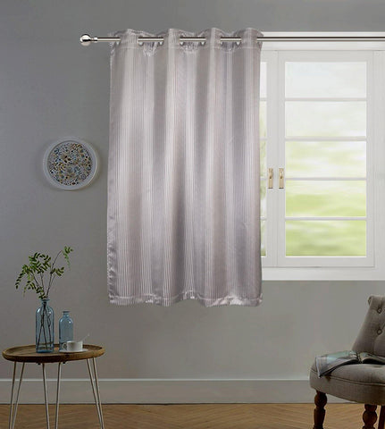 "Lushomes Grey Contemporary Stripped Window Curtain with 8 metal Eyelets (54 x 60"")-Torantina - Lushomes"