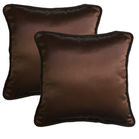 "Lushomes Contemporary Brown Plain Cushion Cover with Unique Dori Piping, 16 x 16""(Pack of 2) Torantina Collection - Lushomes"
