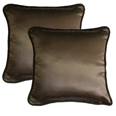 "Lushomes Contemporary Chocolate Plain Cushion Cover with Unique Dori Piping, 16 x 16""(Pack of 2) Torantina Collection - Lushomes"
