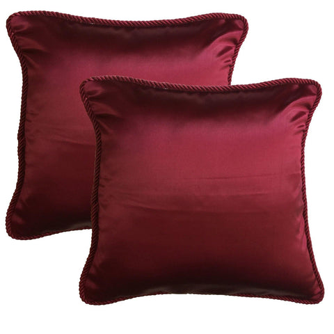 "Lushomes Contemporary Wine Plain Cushion Cover with Unique Dori Piping, 16 x 16""(Pack of 2) Torantina Collection - Lushomes"