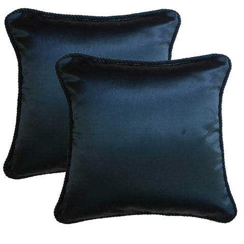 "Lushomes Contemporary Navy Blue Plain Cushion Cover with Unique Dori Piping, 16 x 16""(Pack of 2) Torantina Collection - Lushomes"
