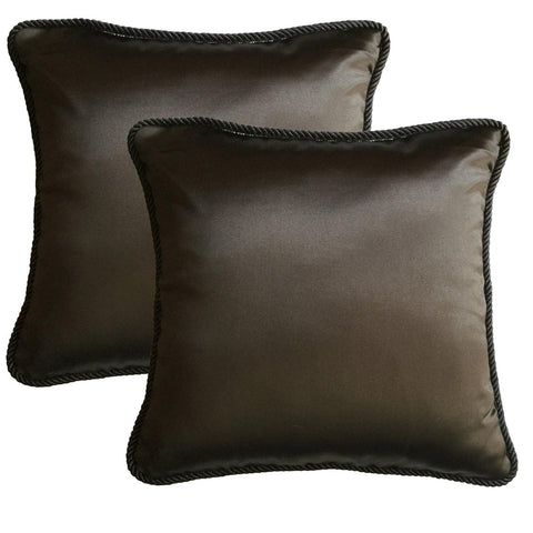 "Lushomes Contemporary Dark Grey Plain Cushion Cover with Unique Dori Piping, 16 x 16""(Pack of 2) Torantina Collection - Lushomes"
