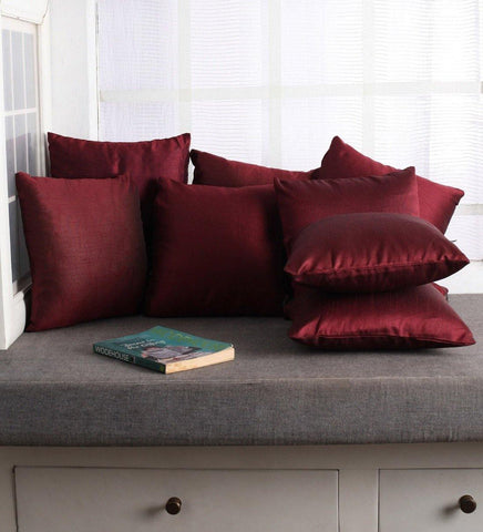 Lushomes Burgundy Dupion Silk Cushion Covers (Pack of 10)