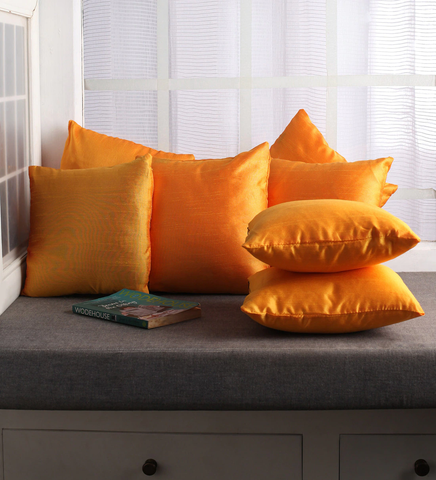 Lushomes Yellow Dupion Silk Cushion Covers (Pack of 10)