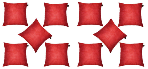 Lushomes Red Dupion Silk Cushion Covers (Pack of 10) - Lushomes