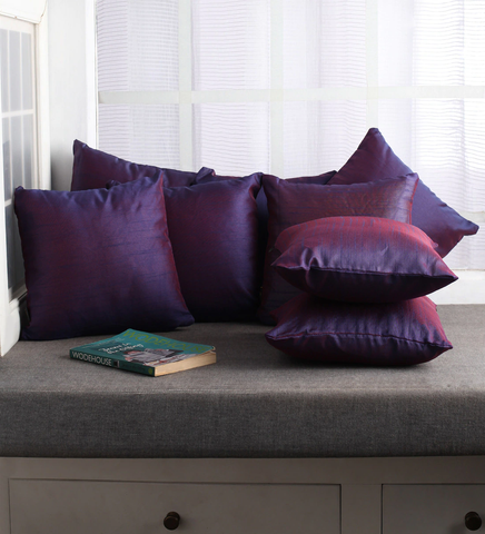 Lushomes Purple Dupion Silk Cushion Covers (Pack of 10)
