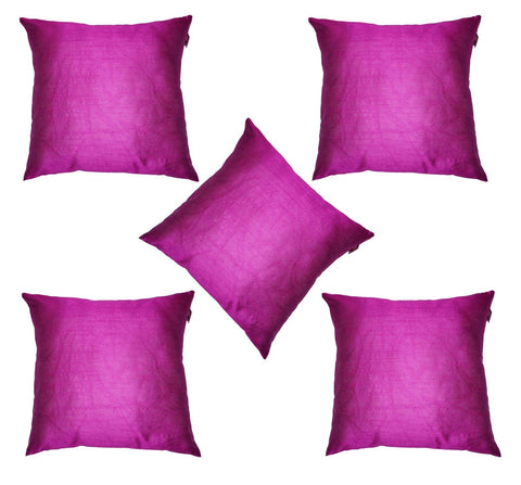 Lushomes Pink Dupion Silk Cushion Covers (Pack of 5) - Lushomes