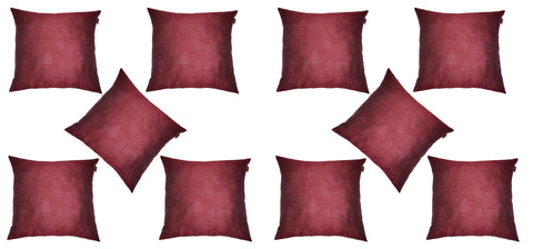 Lushomes Burgundy Dupion Silk Cushion Covers (Pack of 10) - Lushomes