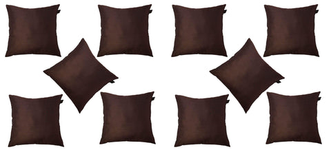 Lushomes Brown Dupion Silk Cushion Covers (Pack of 10) - Lushomes