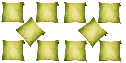 Lushomes Green Dupion Silk Cushion Covers (Pack of 10) - Lushomes