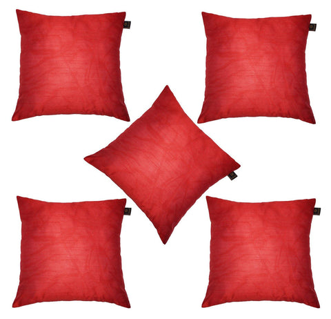 Lushomes Red Dupion Silk Cushion Covers (Pack of 5) - Lushomes
